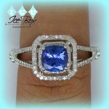Vintage Engagement Ring  1.15ct Cushion Cut Tanzanite in a Diamond Double Halo Split Shank setting