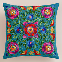 MULTICOLOR AND PINK FLORAL EMBROIDERED THROW PILLOW