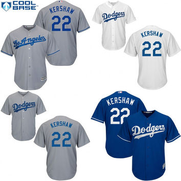 Youth and Men Los Angeles Dodgers Jerseys #22 Clayton Kershaw cool base Baseball Jersey,Accept Mixed Orders Embroidery Logos Size