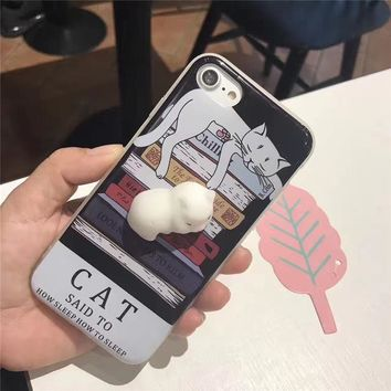 Soft Silicone Squishy Cat Fundas for iPhone