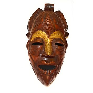 "19"" Large African Wood Mask: Brown"