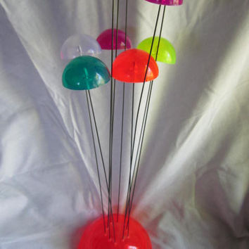 Retro 1960S Lucite Resin Tall Mushroom Cap Bright Neon Colors Funky Room Decor Sculpture