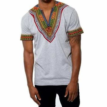 African Ethnic Style Printed V-neck T Shirts