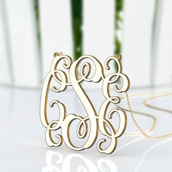 Art gold plated monogram necklace --1.5 inch personalized monogram necklace from China