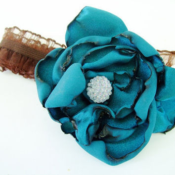Teal blue flower headband Babies Girls Women by OurPlaceToNest