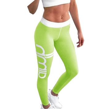 2017 New Women Letter Printed Workout Leggings Sexy Stretch Lady Push Up Fitness Leggings Jeggings Active Slim Sporting Leggings