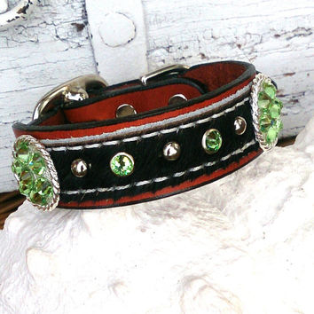 Hair On Hide Collar, DOG COLLAR, Leather Dog Collar, Concho Collar, Swarovski Crystal, Pet Collar, 12 Inch Collar, Cat Collar