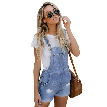 Womens Light Blue Stretch Cotton Denim Short Overalls
