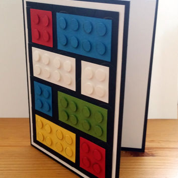 Lego Brick Handmade Greeting Card. Lego Birthday Card. Lego Birthday Party. Lego Birthday Gift.