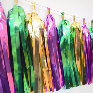 MARDI GRAS Tassel Garland - green gold purple mylar Tassel Garland - Mardi Gras Party Decoration