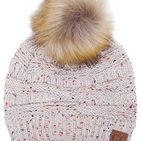 ScarvesMe CC Beanie Cable Knit POMPOM Confetti Beanie Thick Soft Warm Hat (Oatmeal)