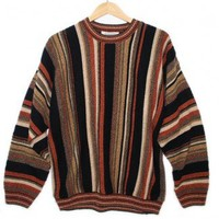 Cozy Brown Stripe Cosby Style Tacky Ugly Sweater Men's Size Medium (M) $25 - The Ugly Sweater Shop