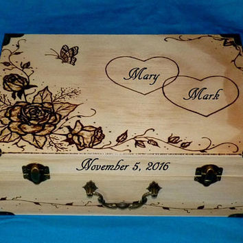Rustic Wedding Card Box Wood Card Box Peacock Wedding Keepsake Box Personalized Romantic Suitcase Box Couples Gift Wood Gift Ready To Ship