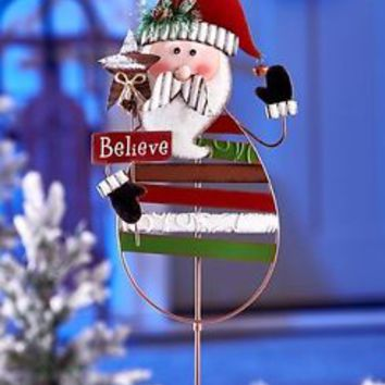 Metal Christmas Santa Yard Stake Lawn Ornament Garden Art Holiday Home Decor