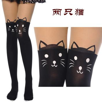 2016 Hot sale! Fashion Gifts Fashion New Women Silk Stockings Pantyhose Ribbed Over Cute Cat Rabbit Sexy Slim Tights