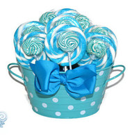Blue Lollipop Arrangement, Candy Arrangement, Its a boy, OOAK, Baby Shower, Baby Boy, Blue Centerpiece, Candy Buffet, Gift, Candy, Lollipop