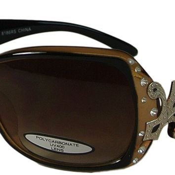 Womens Rhinestone and Fleur de Lis Sunglasses UV400 Oversize Lenses