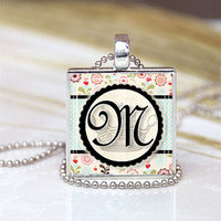 Monogram Initial M Personalized Initial Necklace Art Pendant Photo Glass Pendant