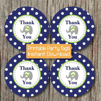 Thank You Favor Tags Prinable Stickers Navy Blue Lime Green Chevron Elephant Baby Shower Birthday diy Thank You Tags INSTANT DOWNLOAD - 096