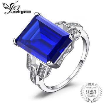 Ring. JewelryPalace Luxury Emerald Cut 9.6ct Created Blue Sapphire Cocktail Ring 925 Sterling Silver Ring for Fashion Women On Sale