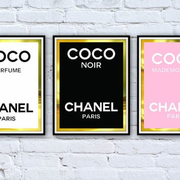 3 Coco Chanel Perfume Logo Framed Posters - Framed Digital Art - Typography Print - Home Decor - Framed Wall Art - Chanel Perfume Bottle
