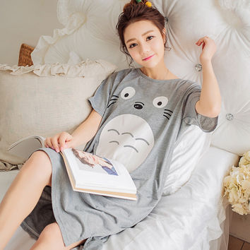 2017 New Summer Lady Long Nightgown Sleepshirts Cute Lovely Cartoon Totoro Sleepwear Short Sleeve Cotton Women Nightdress Pijama