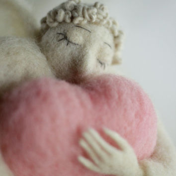 Needle Felt Angel - Christmas Decoration - Dreamy  Angel With A Big Pink Heart - Needle Felted - Art Doll - Christmas Decoration