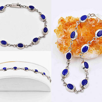 Vintage Taxco Sterling Silver & Blue Glass Link Bracelet, Mexico, Oval Links, Bezel Set, Lapis Blue Glass, 3D, Blue Beauty! #c198