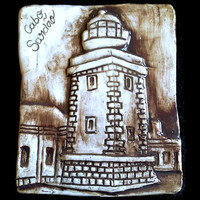 Tiles with low relief. Ceramic tile handmade with lighthouse image. Decorative and unique brown tiles. Handpainted tile.- Mosaic tiles.