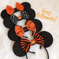 Halloween sparkle Minnie ears, Halloween ears, Halloween accessories, Minnie Mouse ears