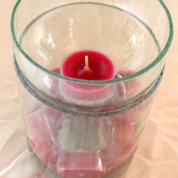 Hand cut glass candle holder vase upcycled from a wine by upstreet