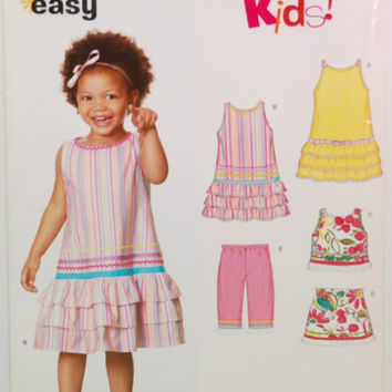 Simplicity 6691 (c. 2007) New Look Kids! Toddler Size 1/2-4, Easy Sewing, Summer Clothes, Sleeveless Dress, Top, Skirt, Pants, Gift Idea