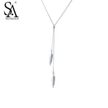 SA SILVERAGE Real 925 Sterling Silver Necklaces Pendants For Women Fine Jewelry Feather Tassel 2017 Hot Sale
