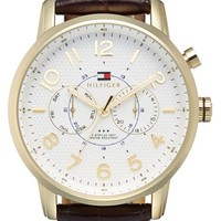 Men's Tommy Hilfiger Multifunction Embossed Leather Strap Watch, 44mm