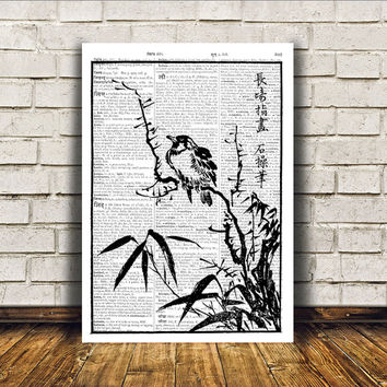 Wall decor Sparrow poster Bird art Dictionary print RTA196