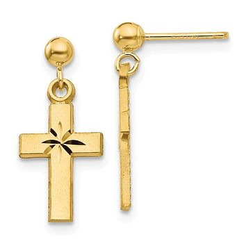 14k Yellow Gold Satin & Diamond -Cut Cross Earrings - Religious Jewelry