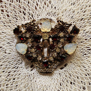 Beautiful Vintage Basket Brooch.  Garnet, Diamond and Mother of Pearl Rhinestones in Gold Tone