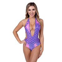 Purple/Pink Mermaid Deep Plunge Halter Bodysuit