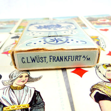 Antique Wilhelmina Playing Cards in Original Box from 1905 by Wüst Nationaal Speelkaart No. 165 . Authenicated.