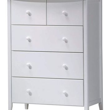 5 Drawer Wooden Chest , White