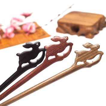 Rabbit animal hand carved natural wood hair sticks pins hairwear hairpins head jewelry accessories ornaments for women diy