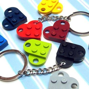 Heart Key Chain made from Genuine Lego Heart Pieces  by MoLGifts
