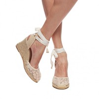 Tall Wedge Sandal - Chantilly Lace Blush Espadrilles for Women from Soludos - Soludos Espadrilles
