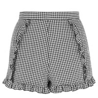 Plaid Shorts with Ruffles Trim Invisible Zipper Junior Girls Fashion