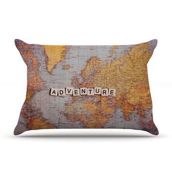 "Sylvia Cook ""Adventure Map"" World Pillow Case"