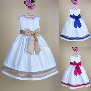 Girls Baby Kid Bowknot Dance Pageant Christmas Party Wedding Ruffle Dress  F_F