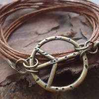 PEACE IN BRONZE hippie wrap bracelet with peace sign & straps
