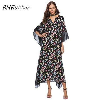 BHflutter 4XL Plus Size Women Clothing New Style Long Summer Dress Batwing Sleeve Floral Print Casual Maxi Beach Dresses