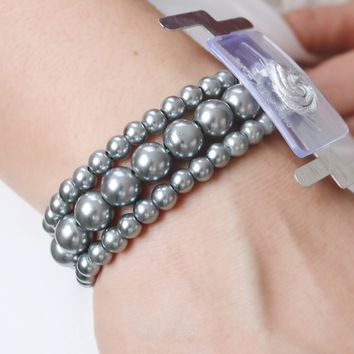 "Charcoal Grey Bubble Beaded Corsage Bracelet - 1"" Wide"
