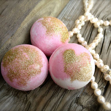 Sweet Pink Sugar Bath Bombs, Pampering Gift for HER, Set of 3 Bath Fizzies